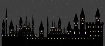 Wektorowa ilustracja z kasztelami w sypialnym nocy mieście ilustracji