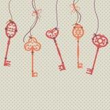 Wektorowa ilustracja z kluczami, łękami i koralikami rocznika, Obraz Royalty Free