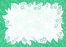 Wektorowa ilustracja z liśćmi i kwiat ramą dla kartka z pozdrowieniami, plakaty, Obraz Royalty Free