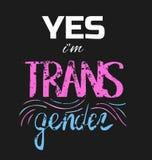 Wektorowa ilustracja z literowaniem ` Tak ja ` m transgender ` Fotografia Stock