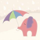 Wektorowa ilustracja z małym słoniem i kolorowym parasolem Obraz Royalty Free