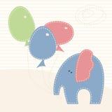 Wektorowa ilustracja z małym słoniem i kolorowymi baloons Zdjęcie Stock