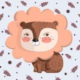 Wektorowa ilustracja z małymi lwa i dębu liśćmi Obrazy Royalty Free