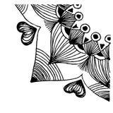 Wektorowa ilustracja z mandala kwartalny okrąg, wielostrzałowy wzór z wierzchołkami Czarny rysunek na białym tle fotografia stock