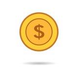 Wektorowa ilustracja złocistej monety dolar w mieszkanie stylu Obraz Royalty Free