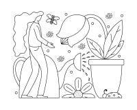 Wektorowa ilustracja z płaską dziewczyną bierze opiekę rośliny royalty ilustracja
