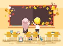 Wektorowa ilustracja z powrotem szkół postać z kreskówki uczennicy uczniowscy aplikanci studiuje w pustej sala lekcyjnej Zdjęcie Royalty Free