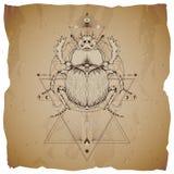 Wektorowa ilustracja z ręka rysującym skarabeuszem i Święty geometryczny symbol na rocznika papieru tle z poszarpanymi krawędziam royalty ilustracja