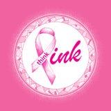Wektorowa ilustracja z różowym faborkiem na bielu w mozaiki round ramie Elegancja projekt dla kobiet zdrowie kampanii ilustracji