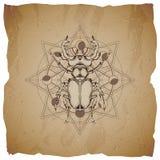 Wektorowa ilustracja z ręka rysującą jeleń ścigą i Święty geometryczny symbol na starym papierowym tle z poszarpanymi krawędziami royalty ilustracja