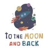 Wektorowa ilustracja z rakiet?, kometa, gra g??wna rol? i planetuje Lot kosmiczny, eksploracja przestrzeni kosmicznej royalty ilustracja
