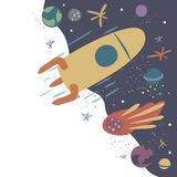 Wektorowa ilustracja z rakiet?, kometa, gra g??wna rol? i planetuje Lot kosmiczny, eksploracja przestrzeni kosmicznej ilustracji
