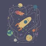 Wektorowa ilustracja z rakiet?, kometa, gra g??wna rol? i planetuje Lot kosmiczny, eksploracja przestrzeni kosmicznej ilustracja wektor