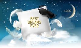 Wektorowa ilustracja z realistyczną 3d kwadrata poduszką z opaską na nim dla best marzy kiedykolwiek, wygodny sen ilustracja wektor
