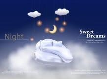 Wektorowa ilustracja z realistycznym 3D pastelem, koc, poduszka dla najlepszy sen, wygodny sen ilustracji