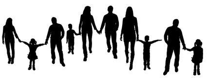 Wektorowa ilustracja z rodzinnymi sylwetkami. Zdjęcia Stock