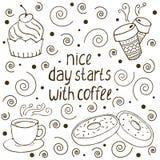 Wektorowa ilustracja z słowa ` ładnym dniem zaczyna z kawą royalty ilustracja