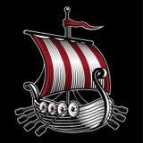 Wektorowa ilustracja z statkiem Viking ilustracja wektor