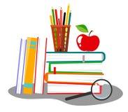 Wektorowa ilustracja z stertą książki, ołówkowy właściciel, magnifier i jabłko, ilustracji