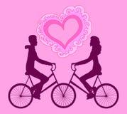 Wektorowa ilustracja z szczęśliwą pary jazdą na rowerach w kierunku each inny Obrazy Stock