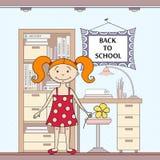 Wektorowa ilustracja z szkoły dziewczyną i atrybutami Zdjęcie Royalty Free