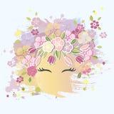 Wektorowa ilustracja z Uśmiechniętą dziewczyny twarzą, kwiecisty wianek ilustracji