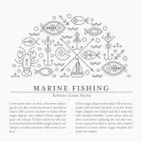 Wektorowa ilustracja z zarysowany nautycznym i połowem podpisuje tworzyć okrąg royalty ilustracja