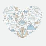Wektorowa ilustracja z zarysowanymi nautycznymi seafaring znakami i morskimi zwierzętami royalty ilustracja