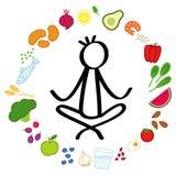 Wektorowa ilustracja zdrowi foods w okręgu, kij postać robi joga lotosu w środkowych, zdrowych łasowań przyzwyczajeniach, ilustracja wektor