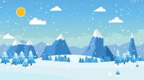 Wektorowa ilustracja zima krajobraz Fotografia Royalty Free