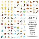 Wektorowa ilustracja zwycięzca, filiżanka, wino, produkcja, dziki zachodni ślub pogody ikony set royalty ilustracja