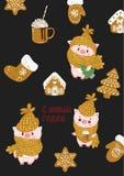 Wektorowa ilustracji karta z symbolem rok - żółta świnia Wakacyjny dekoracja druku projekta szablon Handdrawn royalty ilustracja