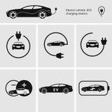 Wektorowa ilustracyjna ładuje stacja dla elektrycznego samochodu Ikony szpilki punktu elektrycznego pojazdu ładuje stacja odosobn Obraz Stock