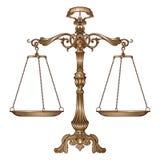 Wektorowa ilustracyjna antykwarska ozdobna równowaga waży na białym tle Sprawiedliwość i robić decyzi pojęciu ilustracja wektor