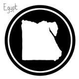 Wektorowa ilustracyjna biała mapa Egipt na czarnym okręgu, odosobniona Obraz Royalty Free