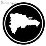 Wektorowa ilustracyjna biała mapa republika dominikańska na czarnym cir Zdjęcie Royalty Free