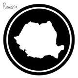 Wektorowa ilustracyjna biała mapa Rumunia na czarnym okręgu, isolat Zdjęcie Royalty Free