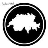 Wektorowa ilustracyjna biała mapa Szwajcaria na czarnym okręgu, jest Zdjęcie Royalty Free