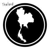 Wektorowa ilustracyjna biała mapa Tajlandia na czarnym okręgu, isola Obraz Royalty Free