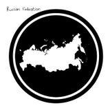 Wektorowa ilustracyjna biała mapa federacja rosyjska na czarnym cir Obraz Royalty Free