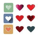 Wektorowa ilustracyjna ikona ustawiająca czerwoni serca kształtuje ilustracja wektor