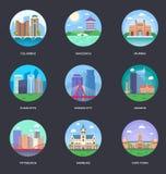 Wektorowa Ilustracyjna kolekcja Światowi miasta ilustracji