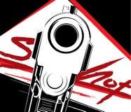 Wektorowa ilustracyjna krócica Kryminalny ręki krócicy pistolet i niebezpieczeństwo wojskowego broń ilustracji
