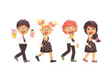 Wektorowa ilustracyjna kreskówka odizolowywający charakterów dzieci, ucznie, ucznie, uczennicy jedzą lody, wanilia ilustracji