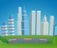 Wektorowa Ilustracyjna kreskówka pejzażu miejskiego metropolia royalty ilustracja