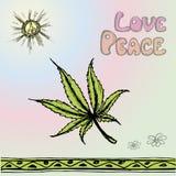 Wektorowa ilustracyjna marihuana, pokój, miłość Zdjęcie Stock
