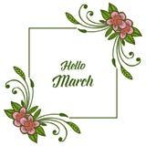 Wektorowa ilustracyjna okwitnięcie kwiatu rama dla kartka z pozdrowieniami marszu cześć royalty ilustracja