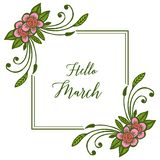 Wektorowa ilustracyjna okwitnięcie kwiatu rama dla kartka z pozdrowieniami marszu cześć ilustracja wektor