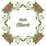 Wektorowa ilustracyjna okwitnięcie kwiatu rama dla kartka z pozdrowieniami marszu cześć ilustracji