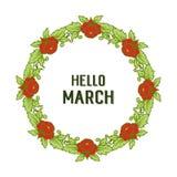 Wektorowa ilustracyjna okwitnięcie kwiatu rama dla zaproszenie marszu cześć ilustracja wektor